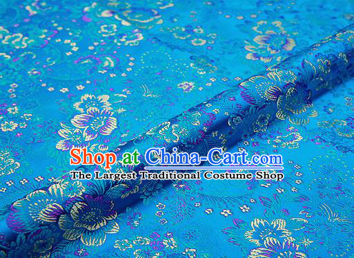 Light Blue Brocade Chinese Traditional Garment Fabric Classical Peony Pattern Design Satin Cushion Material Drapery
