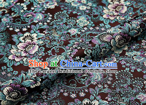 Brown Brocade Chinese Traditional Garment Fabric Classical Peony Pattern Design Satin Cushion Material Drapery