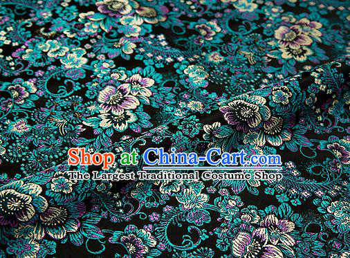 Black Brocade Chinese Traditional Garment Fabric Classical Peony Pattern Design Satin Cushion Material Drapery