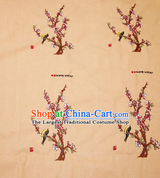 Embroidery Peach Blossom Brocade Chinese Traditional Garment Fabric Satin Cushion Material Drapery