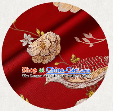 Embroidery Birds Red Brocade Chinese Traditional Garment Fabric Satin Cushion Material Drapery