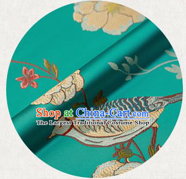Embroidery Birds Green Brocade Chinese Traditional Garment Fabric Satin Cushion Material Drapery