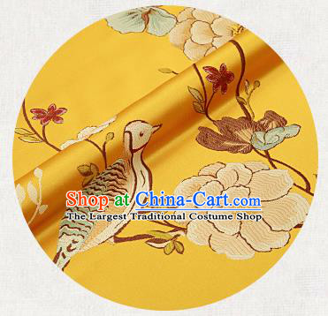 Embroidery Birds Yellow Brocade Chinese Traditional Garment Fabric Satin Cushion Material Drapery