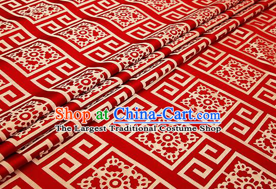 Top Grade Red Brocade Chinese Traditional Garment Fabric Cushion Satin Material Drapery