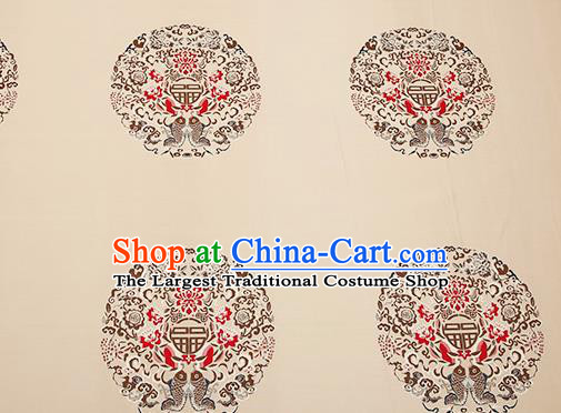 Top Grade Double Fishes Pattern Beige Brocade Chinese Traditional Garment Fabric Cushion Satin Material Drapery