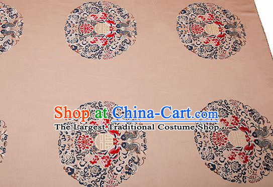 Top Grade Double Fishes Pattern Khaki Brocade Chinese Traditional Garment Fabric Cushion Satin Material Drapery