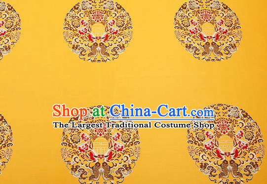 Top Grade Double Fishes Pattern Yellow Brocade Chinese Traditional Garment Fabric Cushion Satin Material Drapery