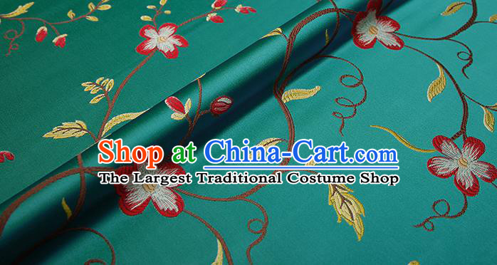 Top Grade Classical Cirrus Flowers Pattern Green Brocade Chinese Traditional Garment Fabric Cushion Satin Material Drapery