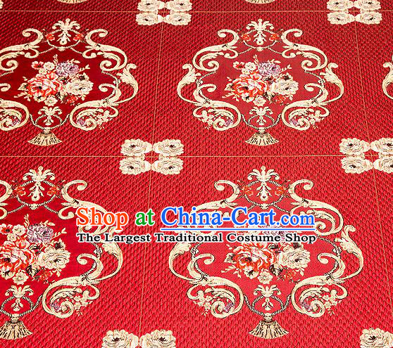 Top Grade Classical Fleur Bouquet Pattern Red Brocade Chinese Traditional Garment Fabric Cushion Satin Material Drapery