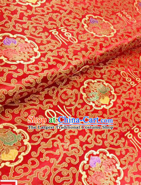 Top Grade Classical Pattern Red Brocade Chinese Traditional Garment Fabric Qipao Satin Material Drapery