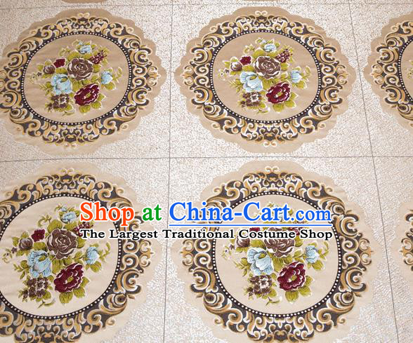 Top Grade Classical Flowers Pattern Khaki Brocade Chinese Traditional Garment Fabric Cushion Satin Material Drapery