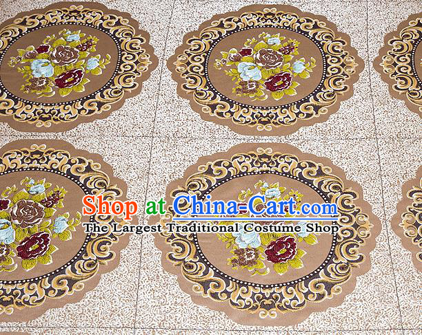 Top Grade Classical Flowers Pattern Brown Brocade Chinese Traditional Garment Fabric Cushion Satin Material Drapery