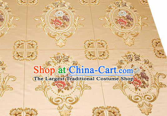 Top Grade Classical Flocked Peony Pattern Light Golden Brocade Chinese Traditional Garment Fabric Cushion Satin Material Drapery