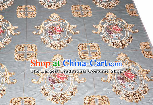 Top Grade Classical Flocked Peony Pattern Blue Brocade Chinese Traditional Garment Fabric Cushion Satin Material Drapery