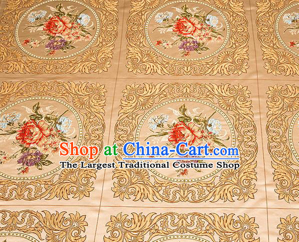Top Grade Classical Peony Flowers Pattern Golden Brocade Chinese Traditional Garment Fabric Cushion Satin Material Drapery