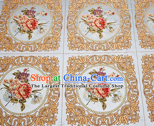 Top Grade Classical Peony Flowers Pattern Blue Brocade Chinese Traditional Garment Fabric Cushion Satin Material Drapery