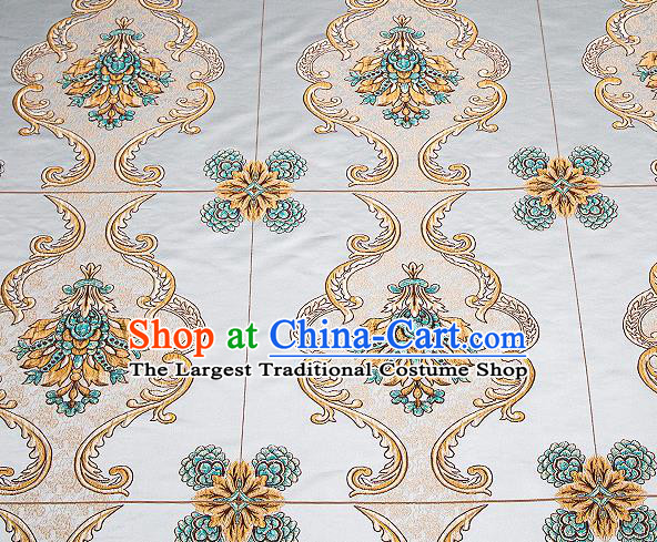 Top Grade Classical Flowers Pattern Blue Brocade Chinese Traditional Garment Fabric Cushion Satin Material Drapery