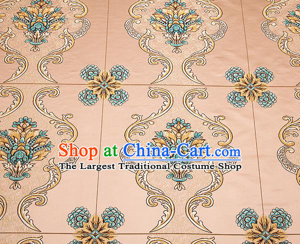 Top Grade Classical Flowers Pattern Bronze Brocade Chinese Traditional Garment Fabric Cushion Satin Material Drapery