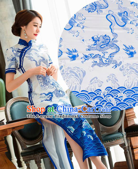 Top Grade Classical Dragons Pattern White Brocade Chinese Traditional Garment Fabric Cushion Satin Material Drapery