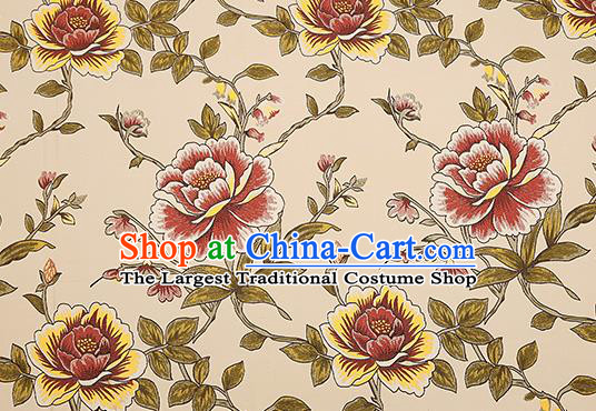 Top Grade Classical Peony Pattern Beige Brocade Chinese Traditional Garment Fabric Cushion Satin Material Drapery