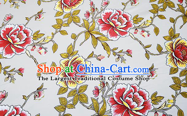 Top Grade Classical Peony Pattern Blue Brocade Chinese Traditional Garment Fabric Cushion Satin Material Drapery