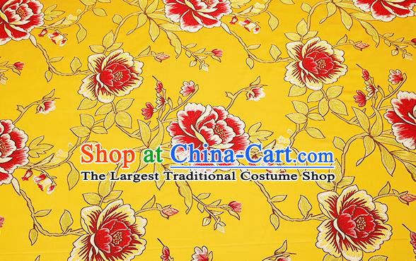 Top Grade Classical Peony Pattern Yellow Brocade Chinese Traditional Garment Fabric Cushion Satin Material Drapery