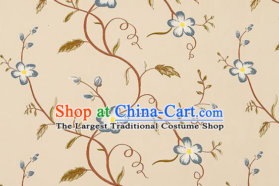 Top Grade Classical Blue Cirrus Flowers Pattern Brocade Chinese Traditional Garment Fabric Cushion Satin Material Drapery