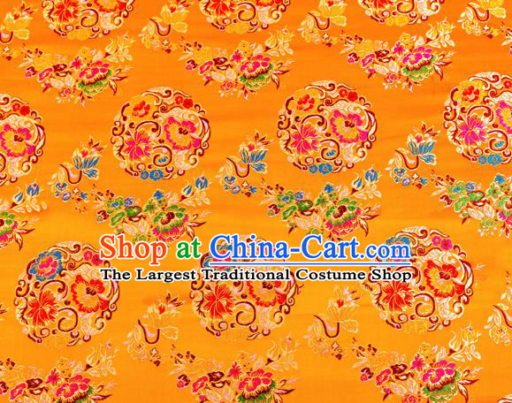 Top Grade Classical Pattern Yellow Nanjing Brocade Chinese Traditional Garment Fabric Tang Suit Satin Material Drapery