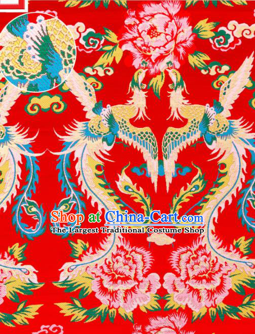 Top Grade Classical Phoenix Peony Pattern Red Nanjing Brocade Chinese Traditional Garment Fabric Tang Suit Satin Material Drapery