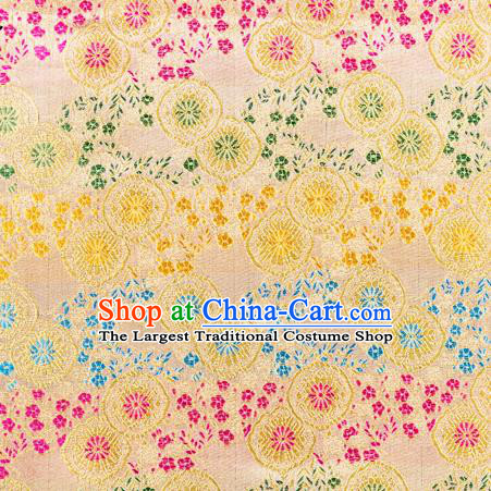 Top Grade Classical Copper Flower Pattern Yellow Nanjing Brocade Chinese Traditional Garment Fabric Tang Suit Satin Material Drapery