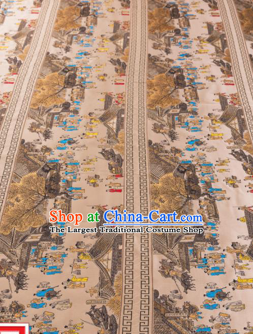 Top Grade Classical Riverside Scene at Qingming Festival Pattern Silk Brocade Chinese Traditional Garment Fabric Cushion Satin Material Drapery