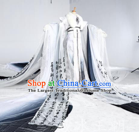 Chinese Ancient Cosplay Swordsman White Costumes Traditional Han Dynasty Nobility Childe Clothing for Men