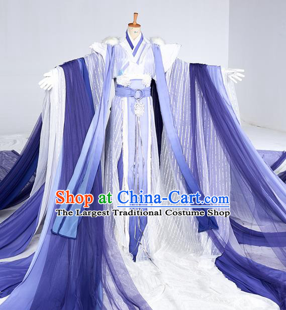 Chinese Ancient Cosplay Swordsman Purple Costumes Traditional Han Dynasty Nobility Childe Clothing for Men