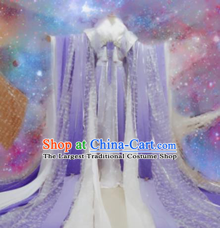 Chinese Ancient Cosplay Peri Costumes Traditional Princess Embroidered Purple Hanfu Dress for Women