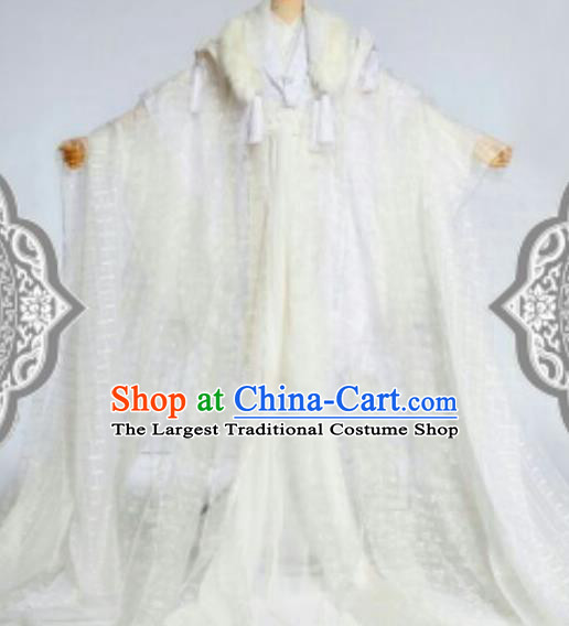 Chinese Ancient Cosplay Swordsman White Costumes Traditional Royal Highness Clothing for Men