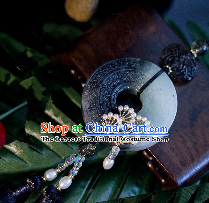 Chinese Traditional Handmade Palace Waist Accessories Tassel Jade Pendant for Men