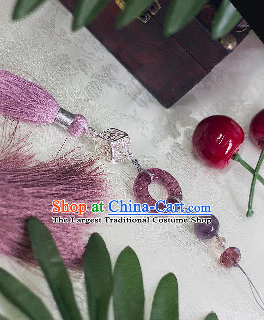 Chinese Traditional Handmade Palace Waist Accessories Purple Tassel Jade Pendant for Men