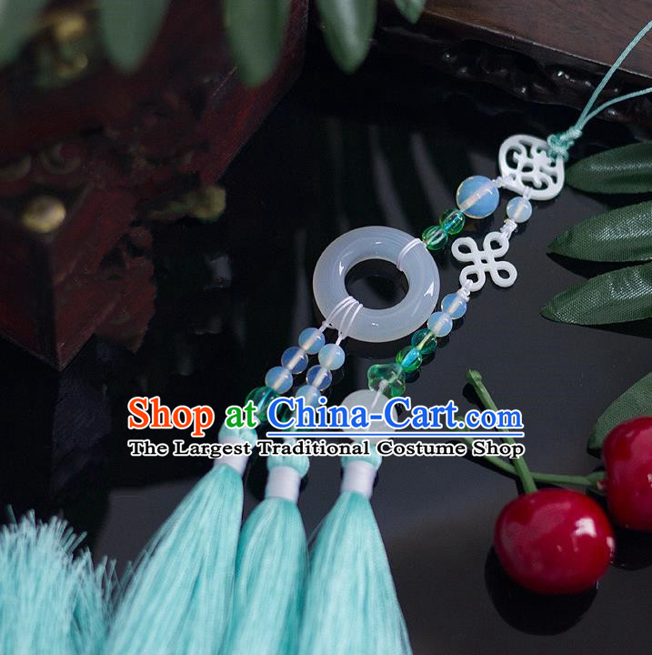 Chinese Traditional Handmade Palace Waist Accessories Chinese Knots Jade Pendant for Men