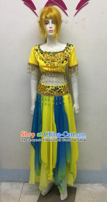 Chinese Ethnic Costumes Traditional Uyghur Nationality Embroidered Dress for Women