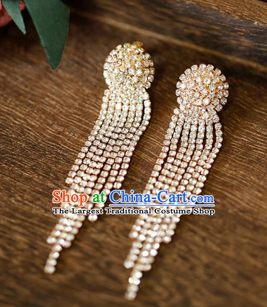 Top Grade Handmade Crystal Tassel Golden Earrings Bride Jewelry Accessories for Women