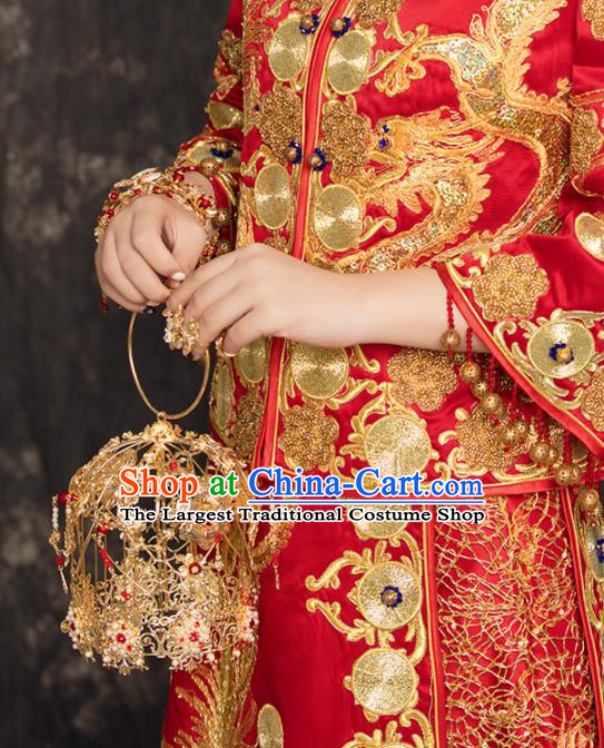 Chinese Traditional Handmade Bride Accessories Ancient Palace Golden Cabas Fleur Bouquet for Women
