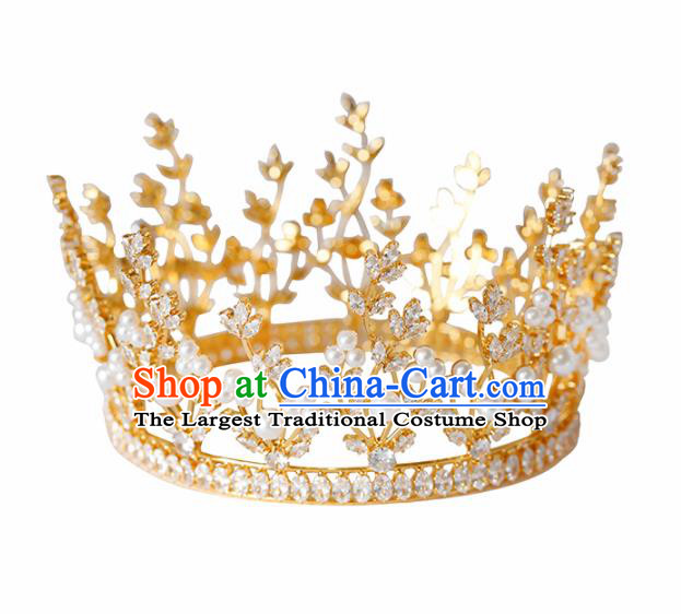 Top Grade Handmade Bride Pearls Golden Royal Crown Hair Accessories for Women