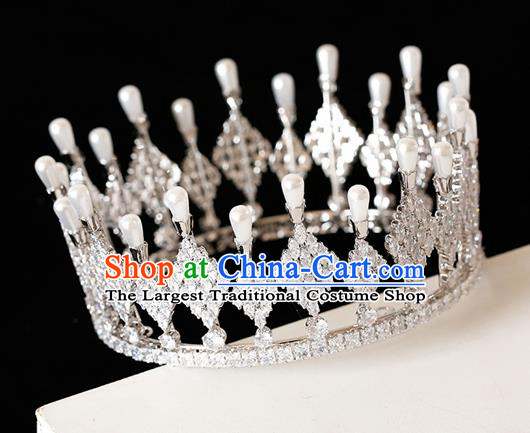 Top Grade Handmade Bride Crystal Pearls Royal Crown Hair Accessories for Women