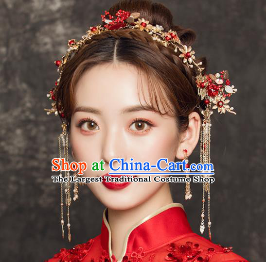 Chinese Traditional Xiuhe Suit Handmade Hair Accessories Ancient Palace Golden Hairpins for Women