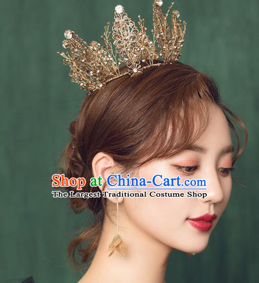 Top Grade Handmade Bride Golden Royal Crown Hair Accessories for Women