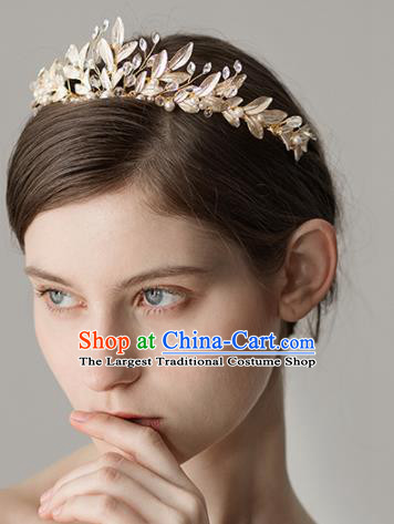 Top Grade Handmade Bride Golden Leaf Royal Crown Hair Accessories for Women