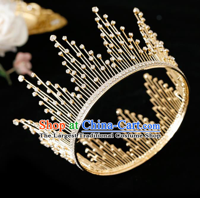 Top Grade Handmade Bride Golden Crystal Round Royal Crown Hair Accessories for Women
