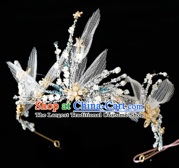 Top Grade Handmade Bride Veil Royal Crown Hair Accessories for Women