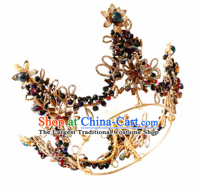 Top Grade Handmade Bride Black Beads Royal Crown Baroque Hair Accessories for Women