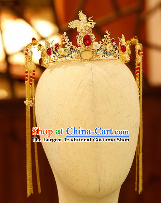 Chinese Traditional Xiuhe Suit Handmade Phoenix Coronet Hair Accessories Ancient Palace Hairpins for Women